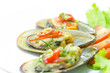 New Zealand green mussels on white plate