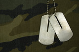 Blank dog tag on camouflage background