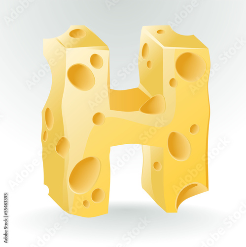 Cheese vector ABC. Letter H.