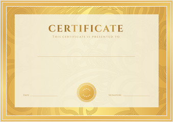 Gold Certificate / Diploma template (award). Floral pattern