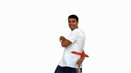 Man throwing a frisbee on white screen