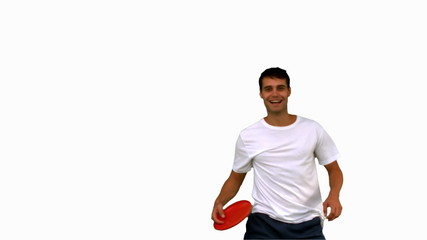 Man catching a frisbee on white screen