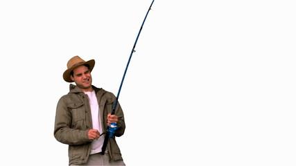 Man making effort while fishing on white screen