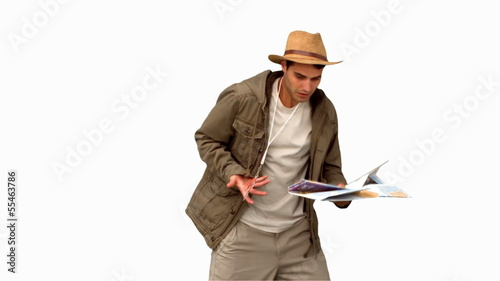 Handsome man orienteering on white screen