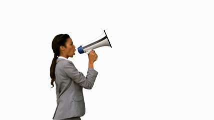 Businesswoman shouting into a megaphone on white screen