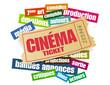 ticket et nuage de mots cinéma