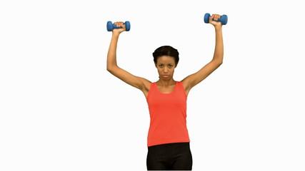 Woman lifting dumbbells on white screen