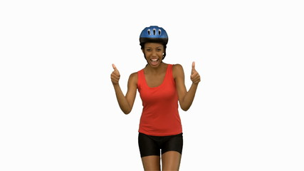 Cyclist woman giving thumbs up on white screen