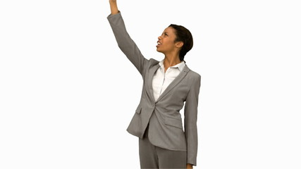 Angry woman raising her phone in the air on white screen