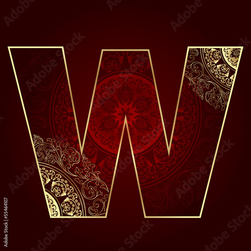 Vintage alphabet with floral swirls, letter W