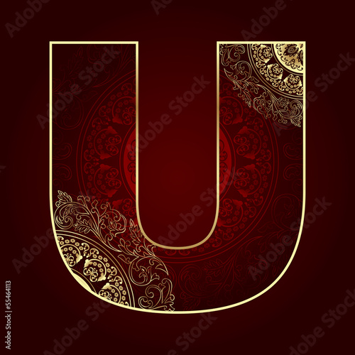 Vintage alphabet with floral swirls, letter U