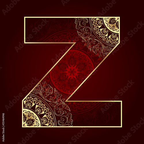 Vintage alphabet with floral swirls, letter Z