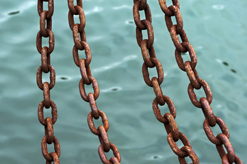 chains of anchor hanging on water
