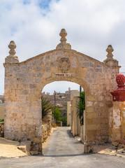 Fondazione Paola arch built in 1731 in Kuncizzjoni, Malta