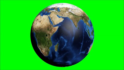 Earth rotating loop on green screen