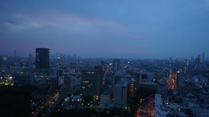 大都市東京 きれいな夕焼け 夕暮れイメージ(新宿方面を望む) タイムラプス