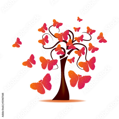 Abstract Design - Tree with butterflies formed by hearts