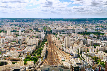 Areal or top view of paris train station