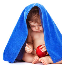 Cute baby with apple fruit
