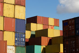 Stack of freight containers in a harbour