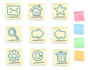 Hand drawn internet and web icons set