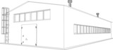 Wire-frame industrial building on the white background