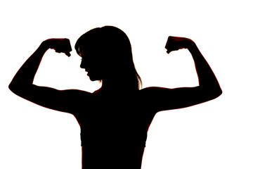 silhouette of a woman fitness flex close