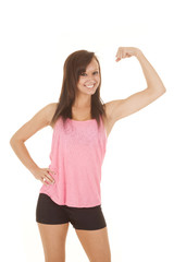 woman fitness pink tank top flex one arm