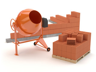 Bricks and concrete mixer