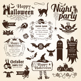 Set of halloween decorative elements (mono)