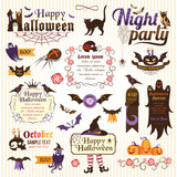 Set of halloween design elements (color)