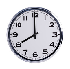 Round office clock shows eight o'clock