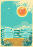 Vintage nature tropical seascape background with sunlight and pa