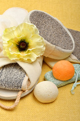 Natural bath sponges, bath slippers, pumice, bath bombs, salt