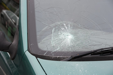 car accident smashed broken windscreen