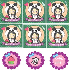 set scrapbook, child, cupcake, panda