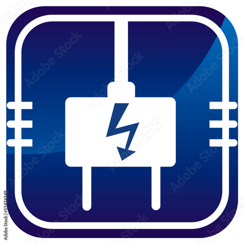 Electric plug - blue icon isolated
