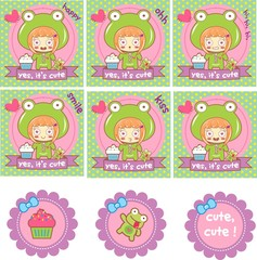 set scrapbook, child, cupcake, frog