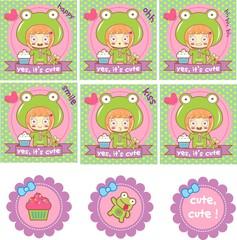 set scrapbook, child, cupcake, frog