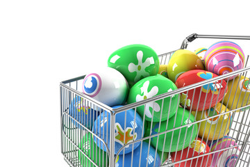Shopping cart with Easter eggs