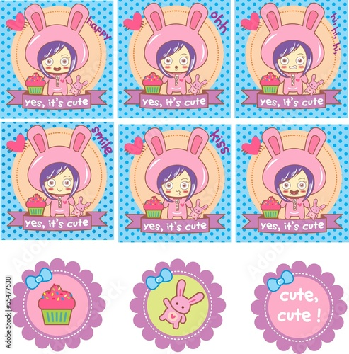 set scrapbook, child, cupcake, RABBIT