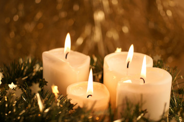 Advent candles with copy space