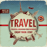 Vintage travel around the world poster poster