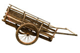 Wooden cart on white background