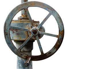 Isolated of old rusty floodgate valve