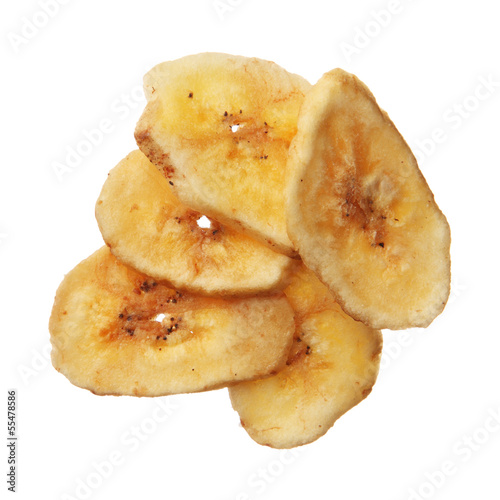 Dried banana chips isolated on white background