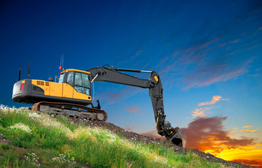 Digger at sunset