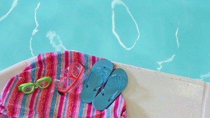 Colorful children's pool accessories by rippling swimming pool