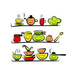 Kitchen utensils characters on shelves, sketch drawing for your