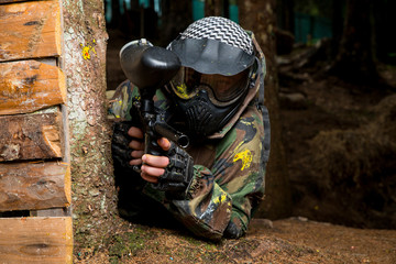 Paintball sniper ready for shooting